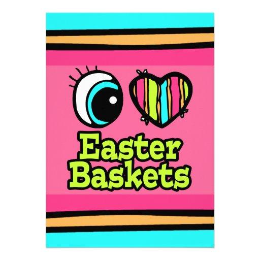 Coração brilhante do olho eu amo cestas da páscoa convite personalizados