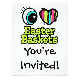 Coração brilhante do olho eu amo cestas da páscoa convite 10.79 x 13.97cm