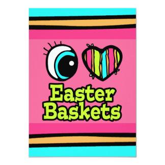 Coração brilhante do olho eu amo cestas da páscoa convite 11.30 x 15.87cm