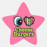 Coração brilhante do olho eu amo cheeseburgers adesivos estrelas