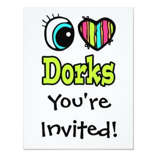 Coração brilhante do olho eu amo Dorks Convites Personalizado