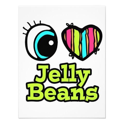 Coração brilhante do olho eu amo feijões de geléia convite personalizados