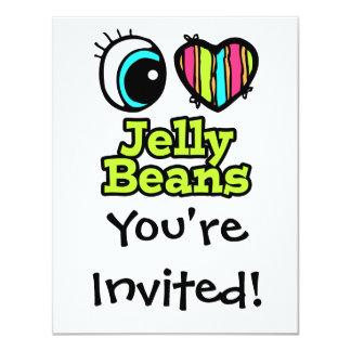 Coração brilhante do olho eu amo feijões de geléia convite 10.79 x 13.97cm