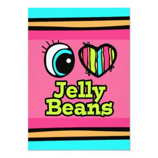 Coração brilhante do olho eu amo feijões de geléia convite 12.7 x 17.78cm