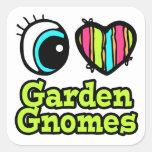 Coração brilhante do olho eu amo gnomos do jardim adesivo quadrado