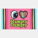 Coração brilhante do olho eu amo Humpty Dumpty Adesivo Em Formato Retângular
