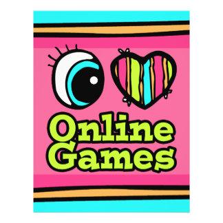 Coração brilhante do olho eu amo jogos onlines modelo de panfleto