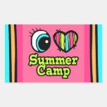 Coração brilhante do olho eu amo o acampamento de  adesivos em formato retangulares