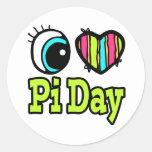 Coração brilhante do olho eu amo o dia do Pi Adesivo Redondo