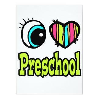 Coração brilhante do olho eu amo o pré-escolar convites personalizados