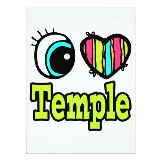 Coração brilhante do olho eu amo o templo convites