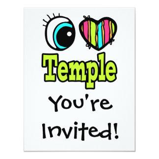 Coração brilhante do olho eu amo o templo convite 10.79 x 13.97cm