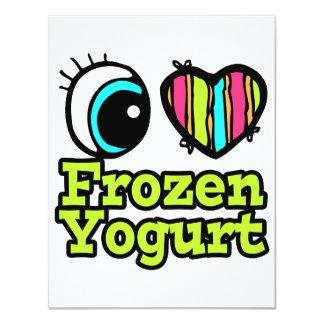 Coração brilhante do olho eu amo o Yogurt Convites Personalizados