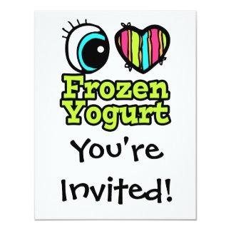 Coração brilhante do olho eu amo o Yogurt Convite