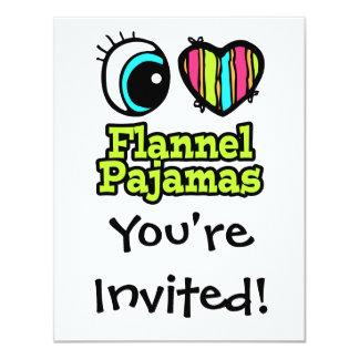 Coração brilhante do olho eu amo pijamas da convite