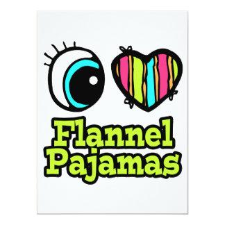 Coração brilhante do olho eu amo pijamas da convites personalizado