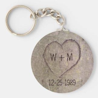 Coração cinzelado em um chaveiro customizável da á