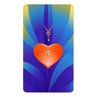 Coração com chave cartoes de visitas