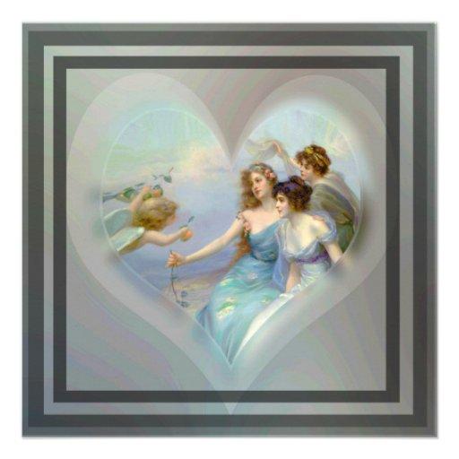 Coração com Cupido e senhoras Convites Personalizados