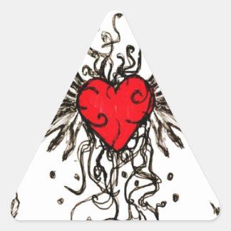 Coração com Wingz Adesivo Triangular