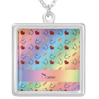 Coração conhecido feito sob encomenda da atadura colar com pendente quadrado