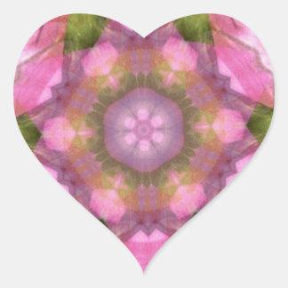 Coração cor-de-rosa 1 do caleidoscópio adesivo coração