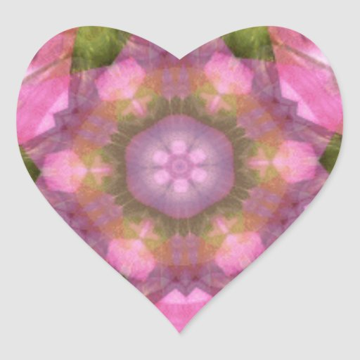 Coração cor-de-rosa 1 do caleidoscópio adesivos em forma de corações