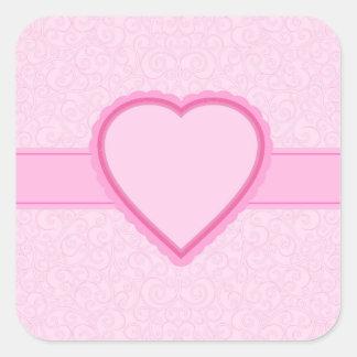 coração cor-de-rosa adesivo quadrado
