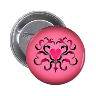 Coração cor-de-rosa brilhante bóton redondo 5.08cm