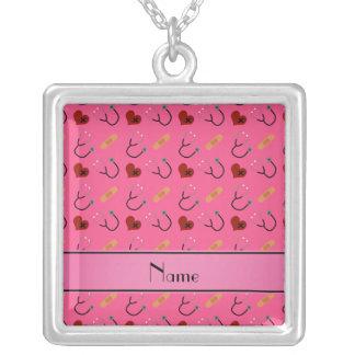 Coração cor-de-rosa conhecido personalizado da colar com pendente quadrado