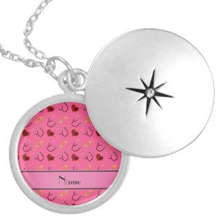 Coração cor-de-rosa conhecido personalizado da locket