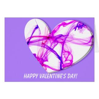 Coração cor-de-rosa da tinta cartão