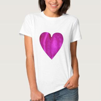 Coração cor-de-rosa do cetim t-shirt