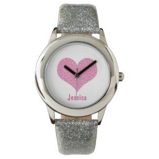 Coração cor-de-rosa - relógio conhecido feminino