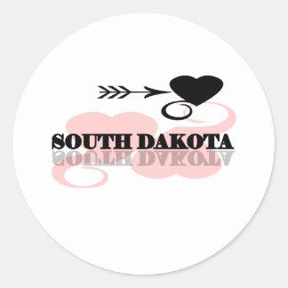 Coração cor-de-rosa South Dakota Adesivo Redondo