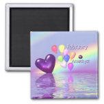 Coração da ametista do aniversário de fevereiro ima de geladeira