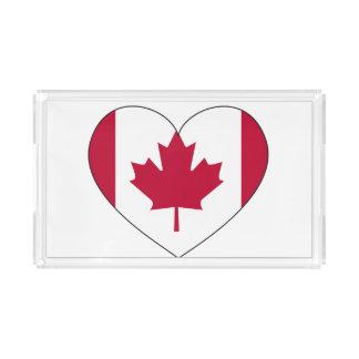 Coração da bandeira de Canadá Bandeja De Acrílico
