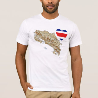 Coração da bandeira de Costa Rica + T-shirt do Camiseta