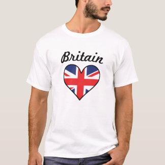 Coração da bandeira de Grâ Bretanha Camiseta