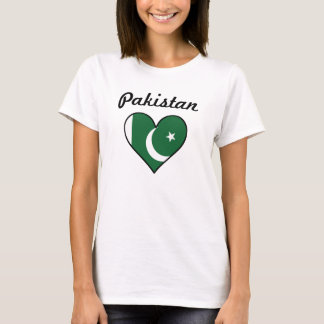 Coração da bandeira de Paquistão Camiseta