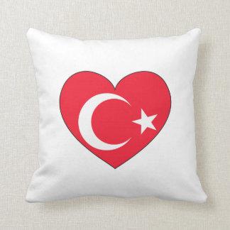 Coração da bandeira de Turquia Almofada