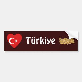 Coração da bandeira de Turquia + Autocolante no Adesivo Para Carro