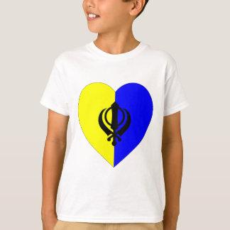Coração da bandeira do sikh camiseta
