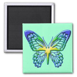 Coração da borboleta do ouro ímã quadrado
