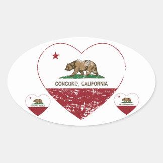 coração da concórdia da bandeira de Califórnia Adesivo Oval