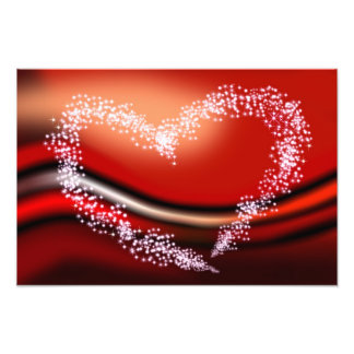 Coração da estrela no vermelho impressão de foto