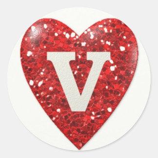 Coração da faísca com letra V Adesivo