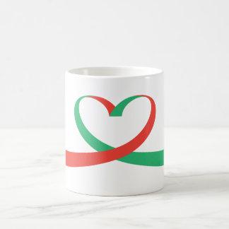 Coração da fita caneca de café
