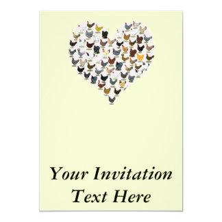 Coração da galinha convite 12.7 x 17.78cm