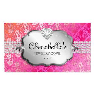 Coração da laranja do rosa do laço do cartão de vi cartões de visitas